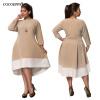 Большие размеры Женские платья Новый 2017 Осень Пэчворк Платье зима плюс размер одежды женщин Элегантный вечер