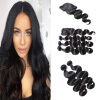 8A Brazilian Body Wave 3PCS Hair Weaves With Top Lace Closure Natural Color Hair Bundles Brazilian Peruvian Remy Human Hair Exten