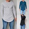 новые мужчины Casual T Shirt хлопок длинные рукава мода сплошной цвет мужской одежды S-3XL