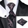 Н-0291 моде мужчины Шелковый галстук набор галстук Запонки платок черный Цветочный набор галстуков для мужчин формальных Свадебный бизнес оптом оптом крепление для авторегистратора