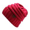 мужчины женщины зимой трикотажные шерстяную шапку  складки досуг Beanies шляпа сплошной цвет Hip-Hop Skullies Beanie skullies