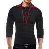 Male 2017 Brand Long Sleeve Line Stitch Button T Shirt Collar Slim Men T-Shirt Tops Fashion Mens Tee Shirt T Shirts 3XL GHJK