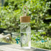 A Ting Printing Heat-resistant Glass Bottle with Bamboo Lid and Portable Rope usb rechargeable 500ml healthy portable hydrogen rich water cup transparent glass bottle with lid