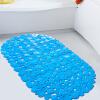 семья Ли дом простой и прочный ПВХ коврик для ванной коврик однотонные камень голубой 36 * 68см