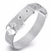 Браслеты браслета 925 стерлингового серебра 10mm широко сетчатые серебряные застежка -молния цепи пояса пряжки браслета Bridal юве