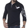 T-Shirt Men 2017 Brand Male Long Sleeve Solid Eagle Printing T-Shirts Mens Casual Mens Slim Slim Tee Tops XXL