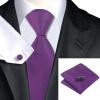 Н-0860 моде мужчины Шелковый галстук набор галстук Запонки платок фиолетовый сплошной набор галстуков для мужчин формальных Свадебный бизнес оптом н 0653 моде мужчины шелковый галстук набор фиолетовый в полоску галстук платок запонки набор галстуков для мужчин формальных свадебный бизнес оптом