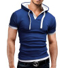 Men'S T Shirt 2017 Summer Fashion Hooded Sling Short-Sleeved Tees Male T-Shirt Slim Male Tops 5XL family fashion summer tops 2015 clothers short sleeve t shirt stripe navy style shirt clothes for mother dad and children