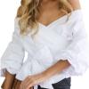 сексуальный женщины с плеча V Шея Рубашки Рукава с затяжкой Пересекать Стройное Блузка твердый Верхняя одежда верхняя одежда