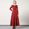 DF · RS 2017Осенние и зимние платья темперамент цветочные вязаные шерстяные длинные юбки с длинными рукавами платье женские юбки в розницу