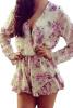 Lovaru ™2015 горячей продажи нового способа лета женщин типа мини-цветочные платья печати Глубокий V-образным вырезом шифон полный рукав сексуальное платье свободное платье с v образным вырезом marni платья и сарафаны мини короткие