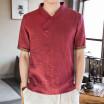 Mens Linen Short Sleeve Summer Solid Shirts Casual Loose Soft V Neck Tops Tee
