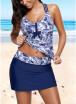 2018 Sexy Women Print Strappy Padded Top Open Back High Waist Skirted Tankini Set