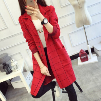 Womens overcoat womens 2018 autumn wear womens suit with plaid knitted cardigan womens long&slim one-piece sweater coat