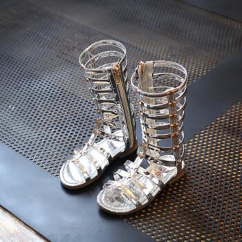 2018 Summer Children Sandals Girls Sandals High-leg Fashion Rivets Roman Gladiator Sandals Girls Shoes Kids Sandals