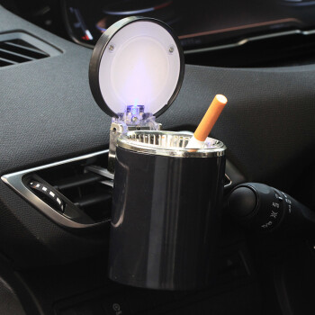 KOOLIFE car outlet ashtray with lights car ashtray with cover creative car interior accessories ashtray car ash barrel car accessories ashtray black