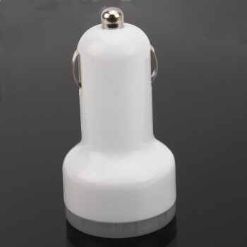 White Double USB Car Travel Power Chargers Adapter For iPhone4iPad Universal