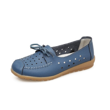 2018 Summer women flats shoes women genuine leather shoes ladies Cutout Slip on ballet flats loafers ballerina flats