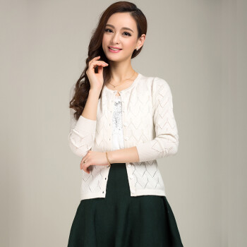 MAOE solid color hollow hollow knit cardigan Z1102 white M