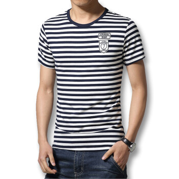 Fashion 2016 Summer Mens T shirts O Neck Striped T Shirts Fashion Slim Fits Casual Cotton Mens T shirts Hot Sale New T Shirts