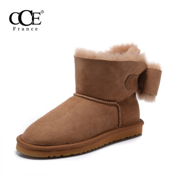 French CCE bowknot boots winter section warm sheepskin fur low snow boots winter winter winter short tube