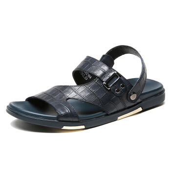 Crown CROWN sandals male anti-skid breathable sandals casual men outdoor leather slippers 5118D621Q4 blue -40 yards