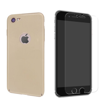 Smorss Apple 7 phone shell protective shell cover glass film phone tempered film protective film iphone7 steel new machine packs - champagne gold