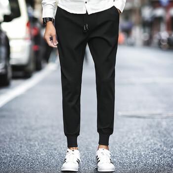 lucassa casual pants men&39s simple casual trousers Harlan fur pants drawstring tie casual pants male A030-K17 black XXL