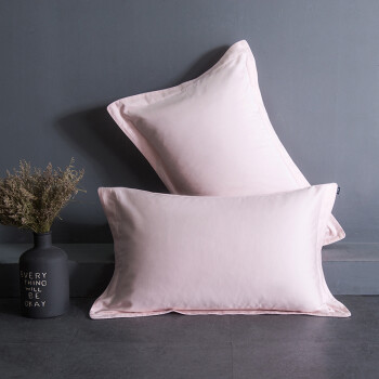 Time luxury turqua pillowcase long-staple cotton cotton cotton simple solid color light luxury single pillowcase without core pink 7cm border a pair of equipment 48 74cm