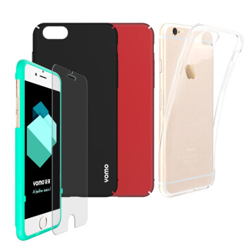 YOMO Apple 6 6s Phone Case Case iPhone6 ​​ 6s Phone Case Hard Shell Red Black TPU Silicone Case Transparent Shell iPhone6 ​​ 6s Tempered Case