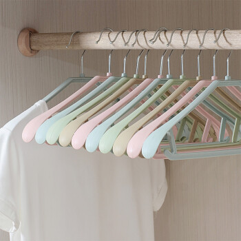 Sheng Ni still clothes hanger wide shoulder no trace non-slip hanger wet&dry plastic clothes racks adult children non-slip clothes support thick non-slip incontinence mixed color 20 Pack