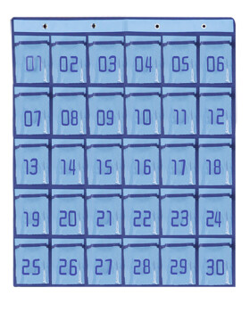 Numbered Classroom Organizer Pocket Chart Cell Phones Holder with Hooks for Calculators&All iPhones 36 Pockets Blue