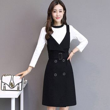 Markentsee 2017 new women&39s autumn dress skirt elegant Korean version of the V-neck long paragraph sweet fashion Korean version of the tide yzOMN9167 black XL