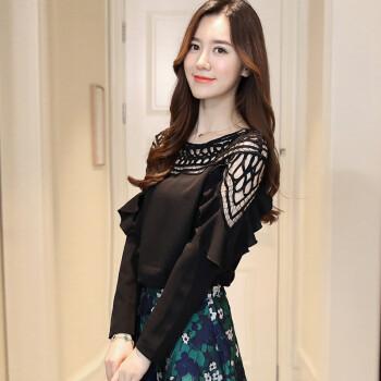 Fort Sheng 2017 new women&39s autumn small shirt hollow hollow leafy chiffon top long-sleeved lace chiffon shirt solid color Han Fan zx1782816 black S