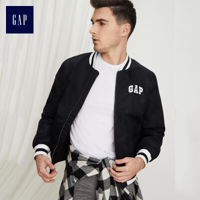 GAP flagship store mens casual baseball uniform jacket winter mens jacket stand collar logo shirt 422315 positive black 17588A