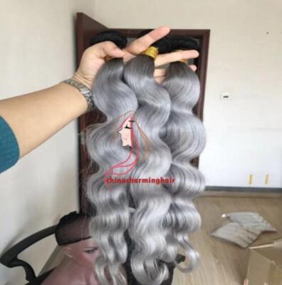 New Arrival 8A brazilian body wave 3pcslot ombre silver grey hair weaving 1bgrey two tone Brazilian Virgin human hair extension