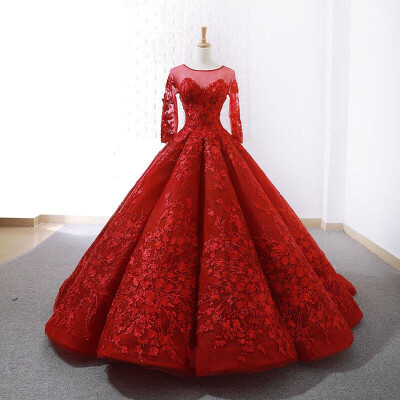 2019 Red Wedding Dress Luxury Full Sleeve Brush Train Ball Gown Princess Classic Lace Embroidery Wedding Gown Dresses