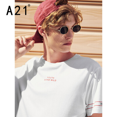Pure online brand A21 2019 spring new mens knitted body round neck short-sleeved T-shirt R492131185 special white 17084AM