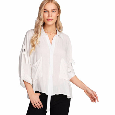 Womens Shirt Long Sleeve Turn Down Collar Solid Color Loose Top shirts