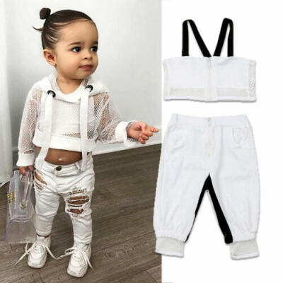 US Newborn Baby Girl Kid Mesh Sling Tops Shorts Trousers Summer Clothes Set 1-4Y