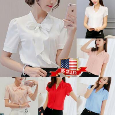 US Womens V-neck Short Sleeve Casual OL Bow Tie Shirt Ladies Chiffon Tops Blouse