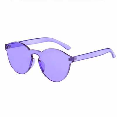 SHAUNA new candy color sunglasses frameless conjoined jelly transparent one-piece color cat eye sunglasses