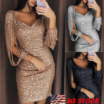 Sexy-Women-Sequin-Tassels-Bandage-Bodycon-Evening-Party-Cocktail-Club-Mini-Dress