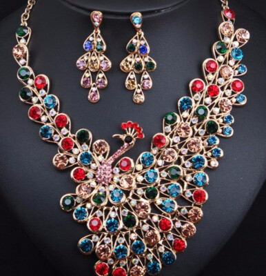new nice luxury fashion exaggerated crystal flashing diamond necklace earrings set dress party bride female accessories