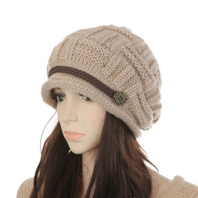 Women Winter Knitted Braided Beanie Hats Cabled Checker Pattern Hat Beret Slouchy Button Leather Belt Cap