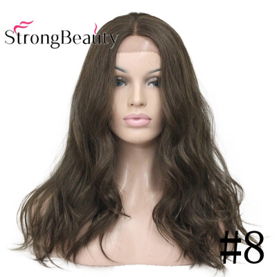 StrongBeauty Long Wavy Human Hair BrownBlonde Wig for Women