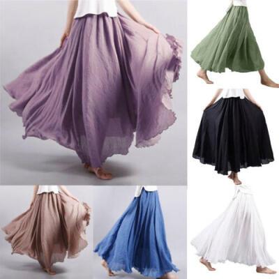 Fashion Womens High Waist Pleated A Line Long Skirt Maxi Cotton Linen Dress