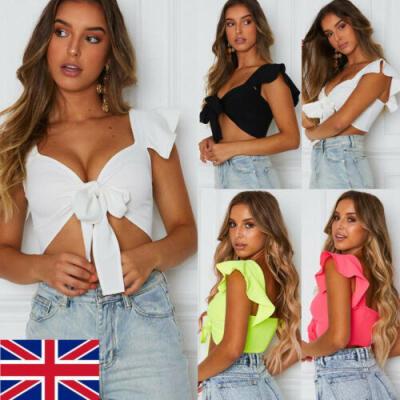UK Women Short Sleeve Crop Top Front Knot Tie Ladies Casual Plain Blouse Shirt