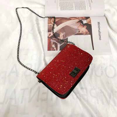 Tailored Women Girl Fashion Padlock Crossbody Shoulder Bag with Bling Sequins