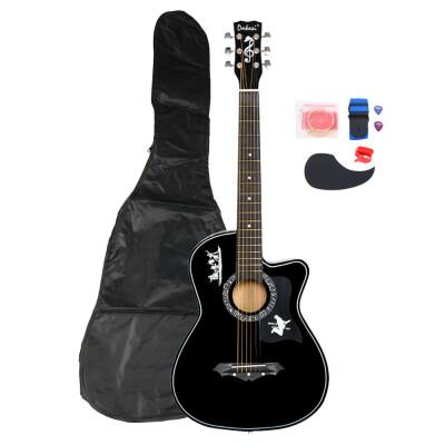 Ktaxon DK-38C Basswood Acoustic Guitar Bag Straps Picks LCD Tuner Pickguard String Set